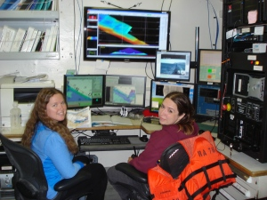 I (the TAS - Teacher at Sea), sit at Hydro Watch  with HSST Starla Robinson, as Rainier surveys through Kupreanof Strait