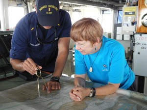 Ensign Estela explaining about mapping to Mrs. Zupko