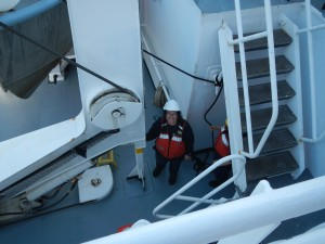 That's me, getting ready to handle the bow line for the HSL 3101 launch