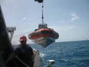 dive boat being lowered
