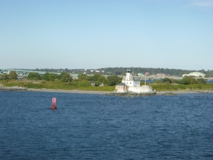 Lighthouse leaving Newport heading out to sea