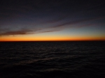 The sun sets on our first day at sea.