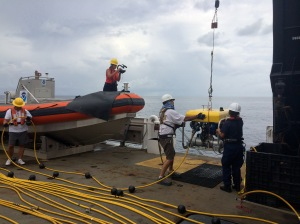 ROV being lowered