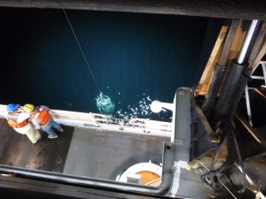 CTD being placed in the water.