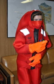 Trying on my survival (gumby) suit