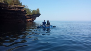 Our children, Ben and Laura, paddling the sea caves in the Apostle Islands, N.L.