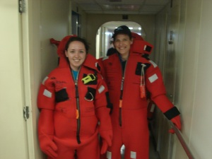 "Kristin Mello and Theresa Paulsen in their gumby suits during the first ""Abandon Ship"" drill."