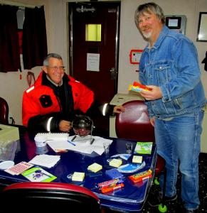 Bingo Night with John! Here is Billy picking up one of the prizes. Photo by Jerry Prezioso.