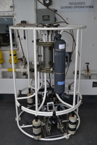 CTD (Conductivity Temperature Depth) probe on deck