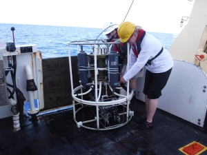 transferring water samples from CTD to lab bottles