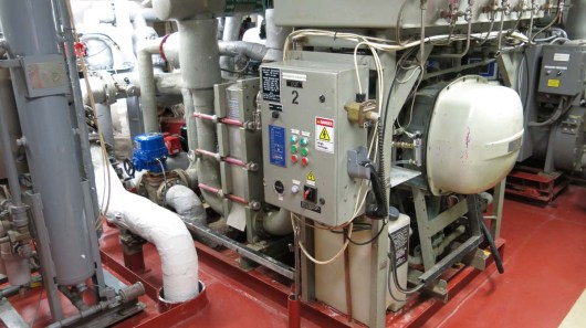 Evaporation machine connected to the Ship Service Diesel Generator. Photo by DJ Kast
