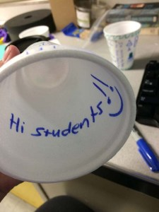 Saying hi to all of my students from inside one of the cups. Photo by DJ Kast