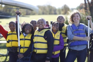 Me and several of my younger students canoeing at the forest preserve.