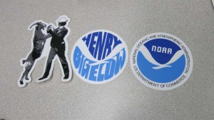 The Survey Technician Jeff provided these great stickers for my drifter buoy. Photo by DJ Kast