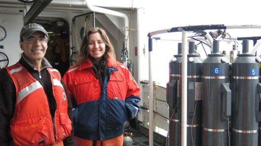 Chief Scientist Jerry Prezioso and Megan Switzer next to the CTD and Rosette