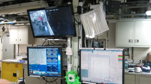 The camera to the side sampling station, the winch and weather screen and the CTD screen. All of these Geoff monitors. Photo by DJ Kast