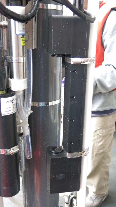 This instrument is a Fluorometer and is used to measure the turbidity at various depths. Photo by: DJ Kast