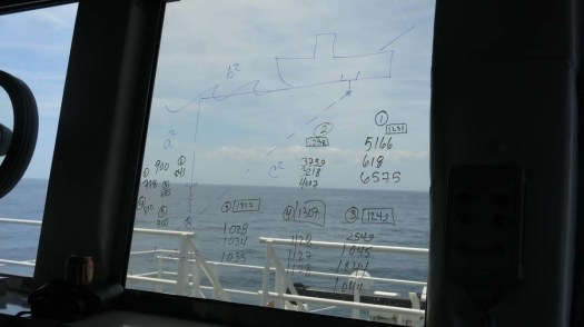 The application of the Pythagoreon Theorum in terms of acoustic sound distances to the buoy to help during retrieval. Oh the applications of MATH! Photo by DJ Kast