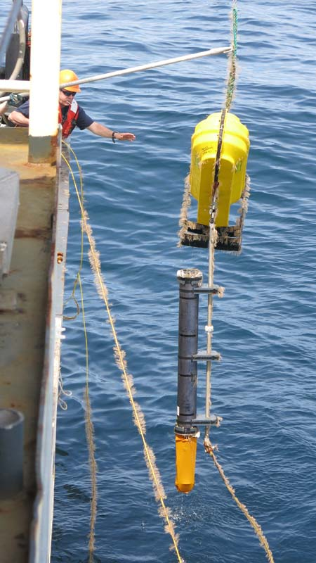 Successful retrieval of the acoustic buoy. Photo by DJ Kast