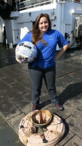 Quick change into my NOAA Teacher at Sea Shirt. Thank you so much for all these opportunities.  Photo by Jerry Prezioso.