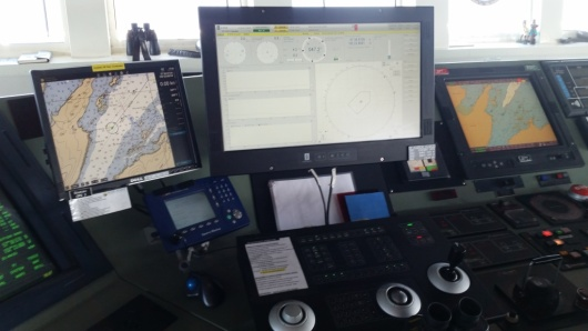 A view of the dynamic positioning monitor from the bridge