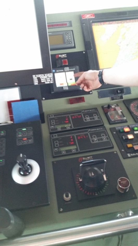 The bow thruster control on the bridge of the ship