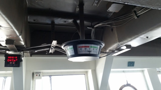 A view of the current state of the rudder of the ship. It changes as the dynamic positioning controls the ship
