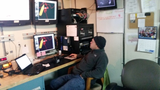 Tom busy at work in the Acoustic Lab on board the Oscar Dyson