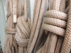 Ropes, used on hatches, which we may or may not have battened.