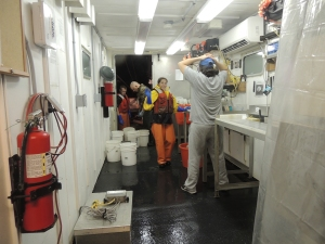 What's up Watch Chief! That's the wet lab, which is a trailer set up between the vestibule and dredge deck