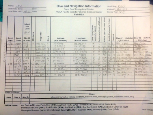 Dive Nav Sheet