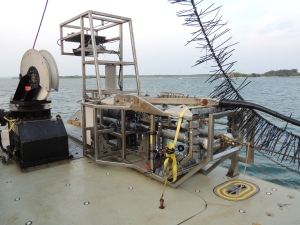 HabCam is towed and controlled from the ship by a winch with fiber-optic wire connected to the dry lab where all pictures are received and can be assessed while in motion