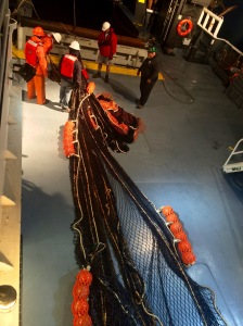The Cobb trawl on deck, waiting to be deployed.