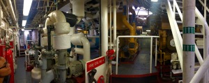 Panoramic view of the engine room, engines 1 and 3 can be seen in foreground and engines 2 and 4 in the background.
