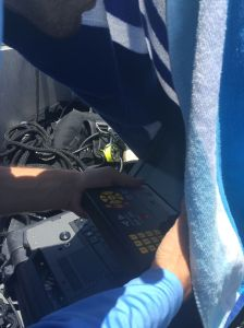 Jeff from FWC at the controls of the ROV searching for signs of spawning aggregations.