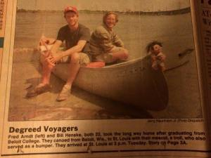 This is a photo from 1993 when a friend and I canoed from college in Wisconsin to my home in St. Louis.