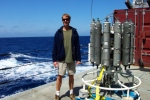 Dr. Ohlmann with a CTD, which measures the conductivity (salinity), temperature, and depth of water samples