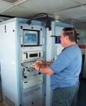 Bob Bowie is standing at the radar station that controls the Doppler Radar unit on the ship.