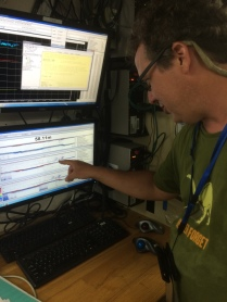 Me pushing pixels on one of the sonars. I can't get it to work though. (Scott Donohue, NOAA)