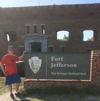 Here it is official as I stand in front of the Dry Tortugas National Park Sign.