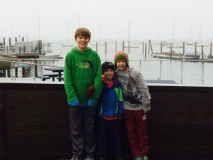 My boys, Trevan, Caden, and Cavan in front of Boston Harbor at the New England Aquarium