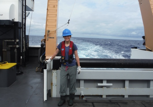 me, standing on the deck at the stern