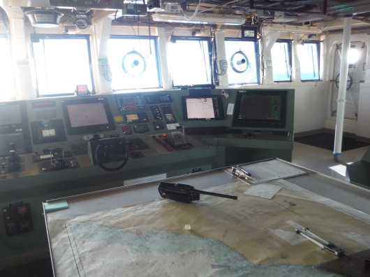 map and control panel on the bridge