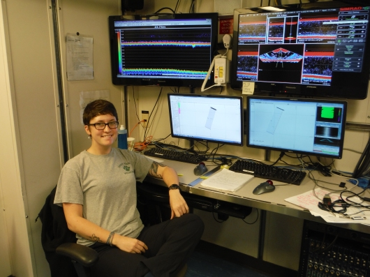 survey technician working in the acoustics lab