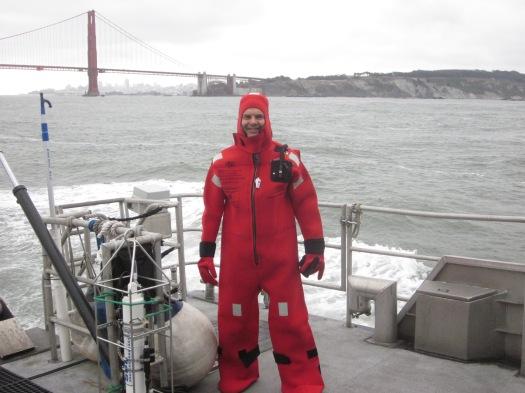 into survival suit