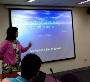 Here I am presenting about the Streamkeeper Project during a visit to our sister school in Taiwan.
