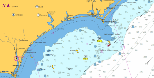 Map showing locations of the two lost traps. Image from Shiptracker.
