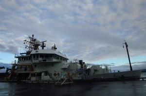 The Oscar Dyson at Pier 2 before departure from Kodiak.
