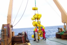 The floating glass balls ensure scientists can retrieve the instruments on the cable linking the anchor to the mooring buoy.