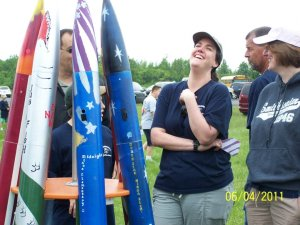 Caught by surprise having a laugh with some volunteers with our high powered rockets.